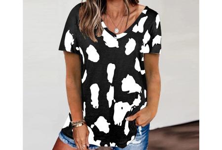 Leopard shirt   Dames T-shirt met korte mouwen Zwart