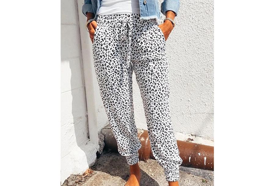Comfy Leopard broek - Maat XL - Wit