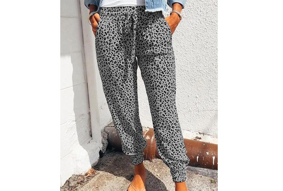 Comfy Leopard broek - Maat L - Grijs
