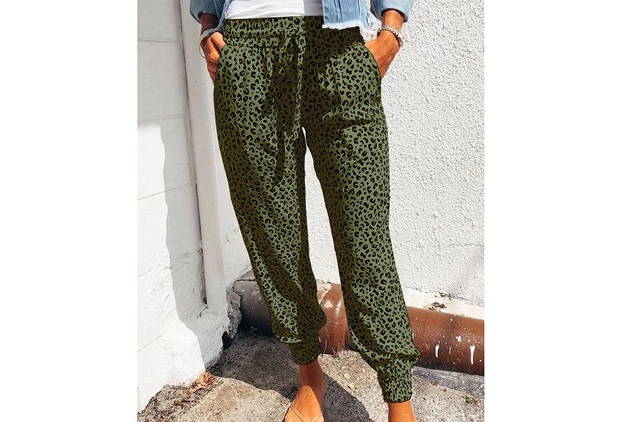 Comfy Leopard broek - Maat XL - Groen