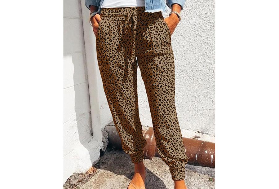 Comfy Leopard broek - Maat XL - Bruin