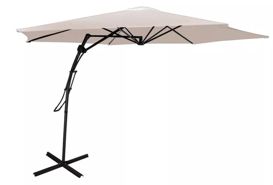 XXL zweefparasol Crèmekleurige parasol + Tegels set van 4
