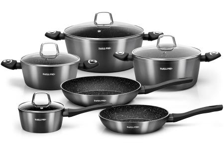 10-delige pannenset van Swiss Pro+   Incl. koekenpan, braadpan & meer Zwart