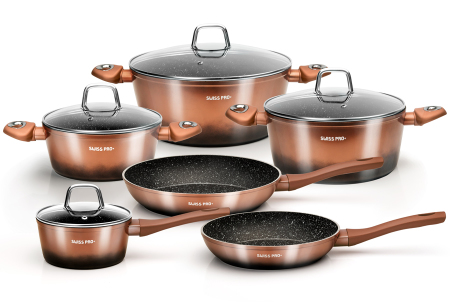 10-delige pannenset van Swiss Pro+   Incl. koekenpan, braadpan & meer Koperkleurig