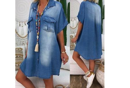 Casual spijkerjurk | Korte denim jurk voor dames Donkerblauw