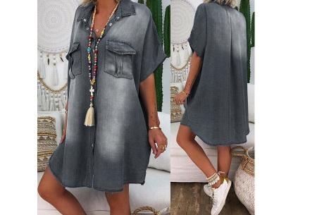 Casual spijkerjurk | Korte denim jurk voor dames Grijs