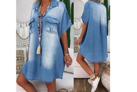 Casual spijkerjurk | Korte denim jurk voor dames Lichtblauw