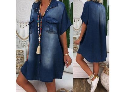 Casual spijkerjurk | Korte denim jurk voor dames Navy blauw