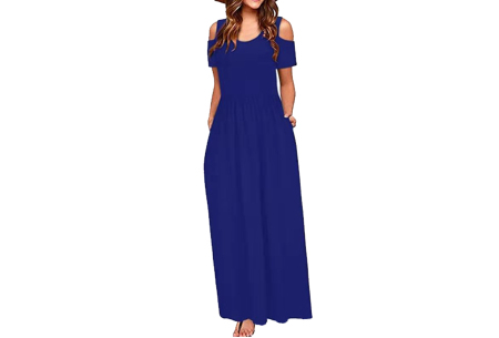 Cold shoulder maxi jurk | Casual zomerjurk - in 10 varianten  Donkerblauw