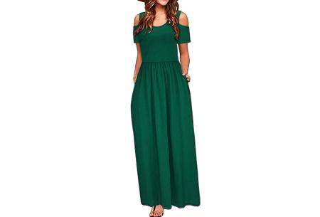 Cold shoulder maxi jurk | Casual zomerjurk - in 10 varianten  Donkergroen