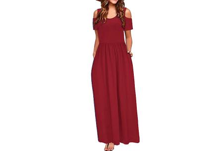 Cold shoulder maxi jurk | Casual zomerjurk - in 10 varianten  Wijnrood