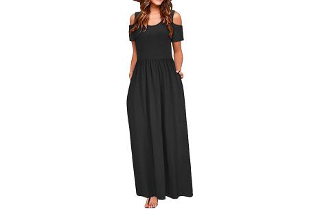 Cold shoulder maxi jurk | Casual zomerjurk - in 10 varianten  Zwart
