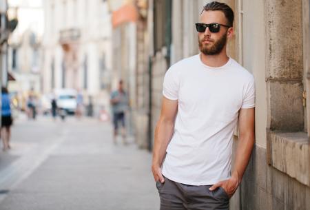 4-pack witte heren T-shirts | Extra long fit model - met ronde of V-hals