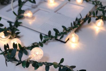 Lichtsnoer met kunstbladeren voor buiten of binnen | Sfeervolle lichtslinger op batterijen of zonne-energie