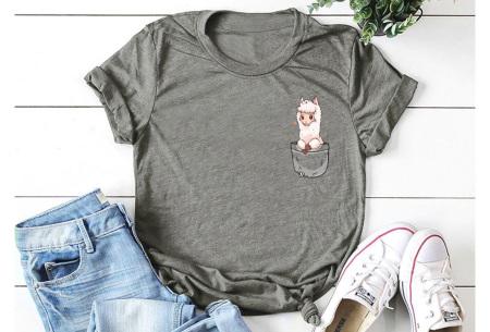 Alpaca T-shirt | Trendy dames shirt met kort mouwen - in 7 kleuren  Donkergrijs