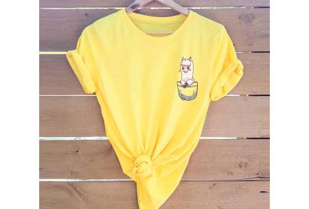 Alpaca T-shirt | Trendy dames shirt met kort mouwen - in 7 kleuren  Geel