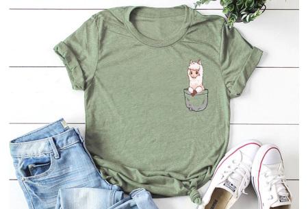 Alpaca T-shirt | Trendy dames shirt met kort mouwen - in 7 kleuren  Legergroen