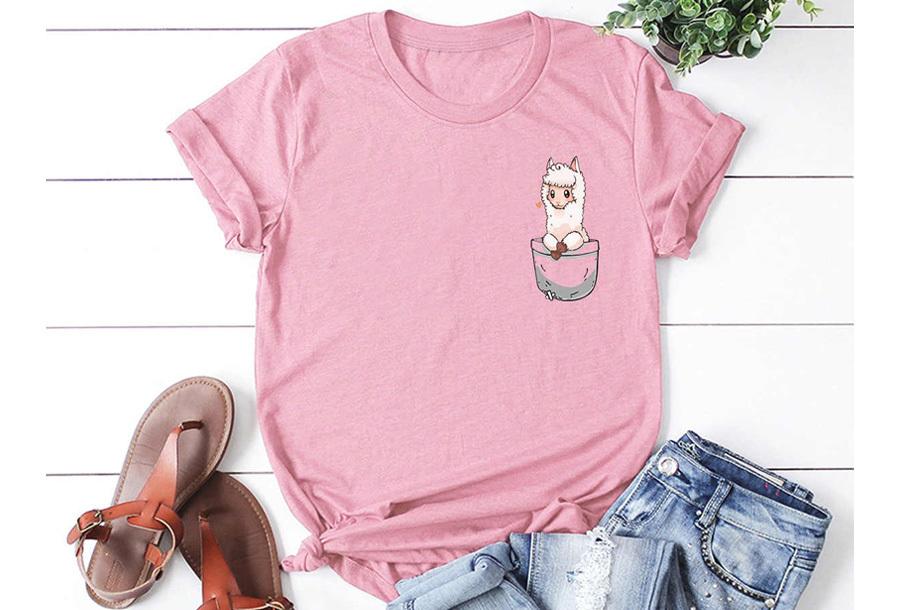 Alpaca T-shirt - Maat S - Roze