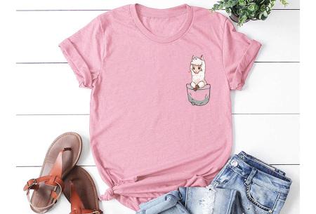 Alpaca T-shirt | Trendy dames shirt met kort mouwen - in 7 kleuren  Roze