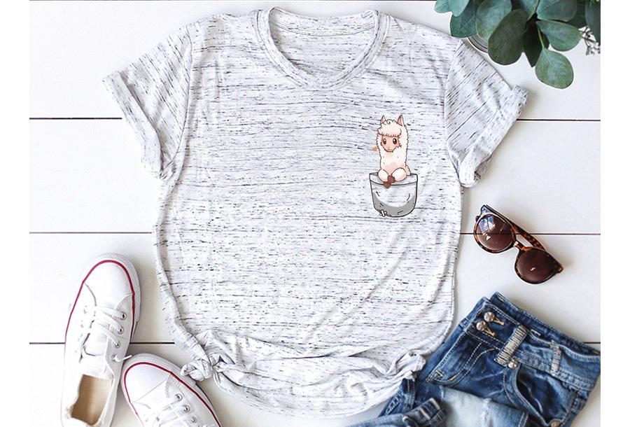 Alpaca T-shirt - Maat L - Lichtgrijs gemeleerd