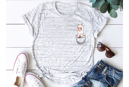 Alpaca T-shirt | Trendy dames shirt met kort mouwen - in 7 kleuren  Lichtgrijs gemêleerd