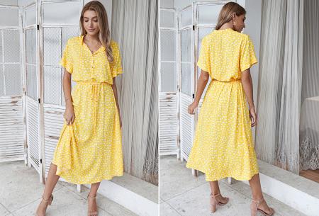 Leopard midi jurk | Trendy zomerjurk voor dames nu in de sale Geel