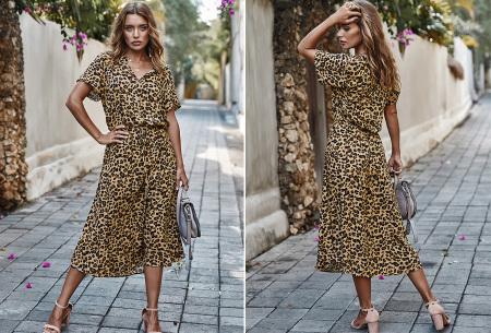 Leopard midi jurk | Trendy zomerjurk voor dames nu in de sale Khaki