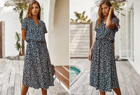 Leopard midi jurk | Trendy zomerjurk voor dames nu in de sale Navyblauw