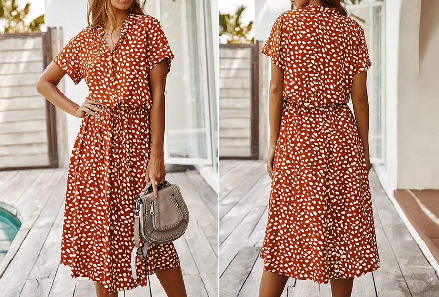 Leopard midi jurk Maat S - Oranje