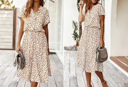 Leopard midi jurk | Trendy zomerjurk voor dames nu in de sale Wit