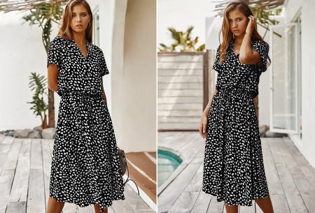 Leopard midi jurk | Trendy zomerjurk voor dames nu in de sale Zwart