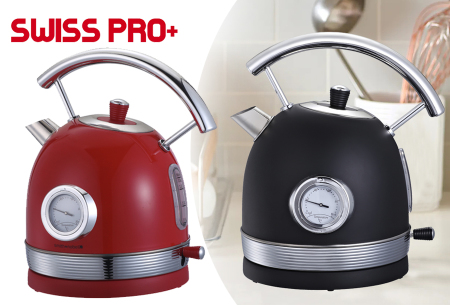 Retro waterkoker van Swiss Pro+   Stijlvol keukenapparaat in het zwart of rood