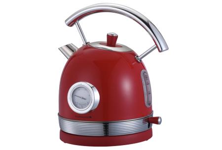 Retro waterkoker van Swiss Pro+   Stijlvol keukenapparaat in het zwart of rood Appelrood