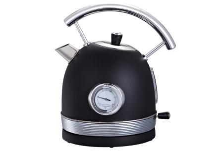 Retro waterkoker van Swiss Pro+   Stijlvol keukenapparaat in het zwart of rood Zwart