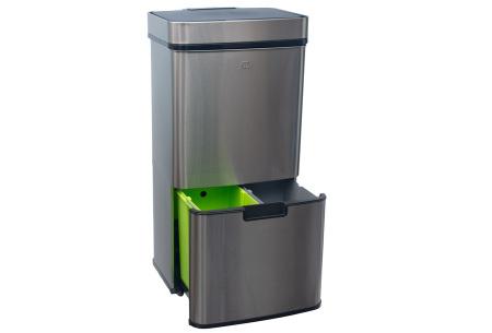 FlinQ prullenbak met sensor en 4 vakken | Al je afval in één vuilnisbak! Grijs