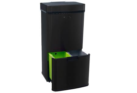 FlinQ prullenbak met sensor en 4 vakken | Al je afval in één vuilnisbak! Zwart