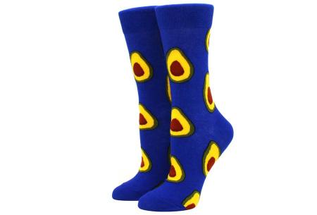Printed Socks   Leuke sokken voor dames en heren - los of als 15-pack! Avocado - blauw