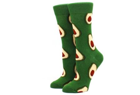 Printed Socks   Leuke sokken voor dames en heren - los of als 15-pack! Avocado - groen