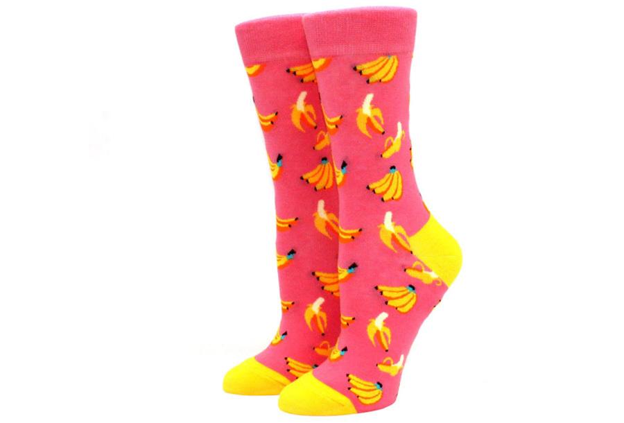 Printed Socks Banaan - roze
