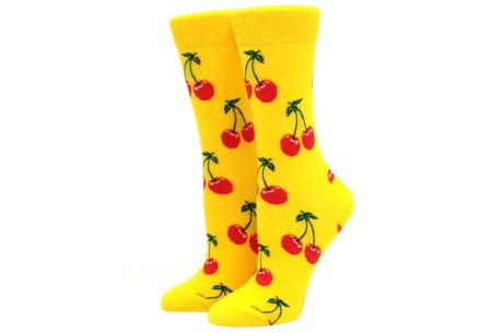 Printed Socks   Leuke sokken voor dames en heren - los of als 15-pack! Kers