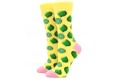 Printed Socks   Leuke sokken voor dames en heren - los of als 15-pack! Limoen - geel