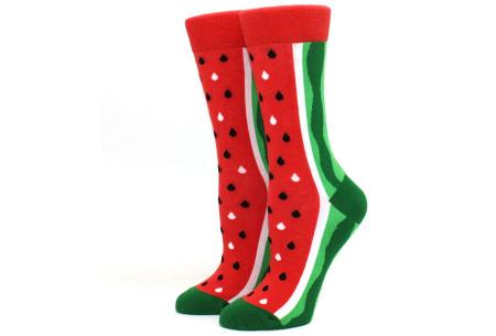 Printed Socks   Leuke sokken voor dames en heren - los of als 15-pack! Watermeloen - rood