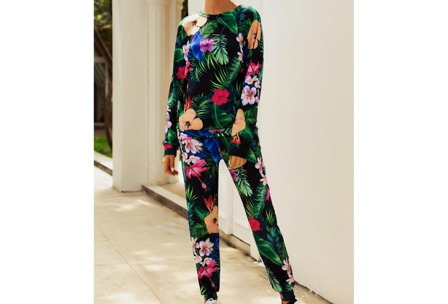 Tropical huispak voor dames Maat L - Flower multi