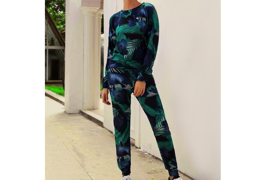 Tropical huispak voor dames Maat M - Palm leaves