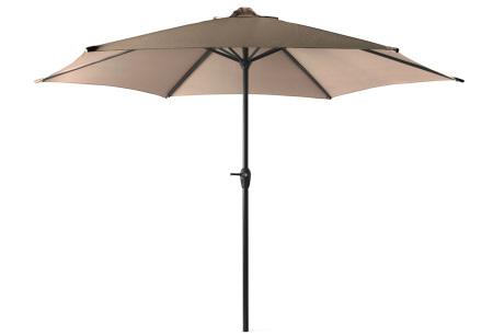 XL parasol van 909 outdoor   In zwart of taupe - eventueel met vulbare parasolvoet  Taupe