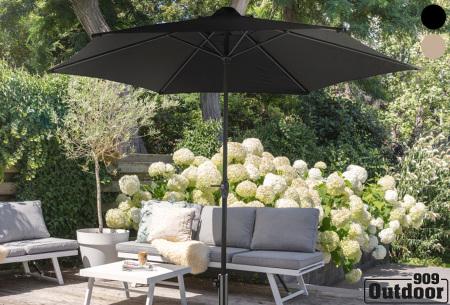XL parasol van 909 outdoor   In zwart of taupe - eventueel met vulbare parasolvoet