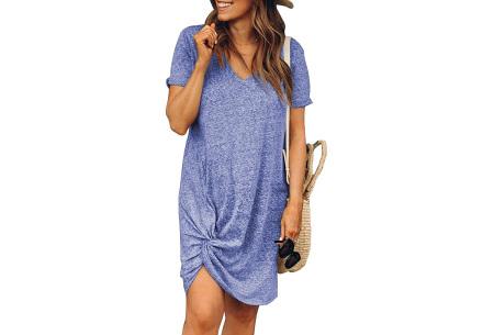 Knotted jurk voor dames | Leuk kort zomerjurkje met knoop Blauw