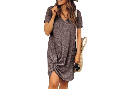 Knotted jurk voor dames | Leuk kort zomerjurkje met knoop Coffee