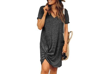 Knotted jurk voor dames | Leuk kort zomerjurkje met knoop Donkergrijs