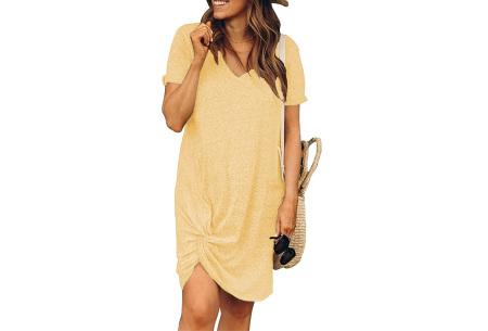 Knotted jurk voor dames | Leuk kort zomerjurkje met knoop Geel